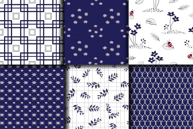 モノトーンブルーセットコレクションシームレスパターンの装飾、生地、繊維、印刷または壁紙