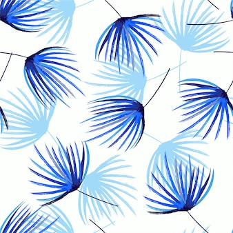Monotone on blue shade seamless pattern in vector hand brush sketch of palm leaves .design feor fashion, fabric, web,wallpaper, wrappidng and all prints