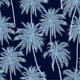 Monotone blue shade of summer seamless blue palm trees pattern on navy blue background.