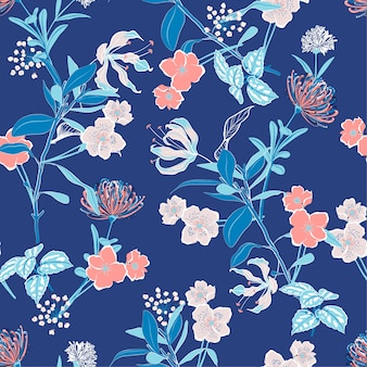 Monotone blue and sweet mood vector floral pattern