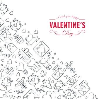 Монотонная творческая композиция эскиза дня святого валентина с красивой иллюстрацией символов