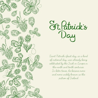 Monotone decorative design sketch card hand drawn with lettering about st. patricks day on right with hop twigs and clover