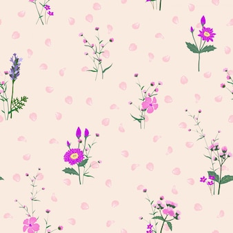 Monotone on purple shade blooming flowers garden seamless pattern