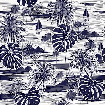 Monotone vector hand drawn on navy blue seamless island pattern