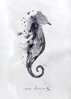 Monotype seahorse drawing with black and white on paper background