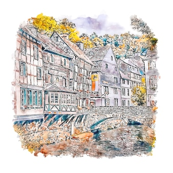 Monschau germany watercolor sketch hand drawn