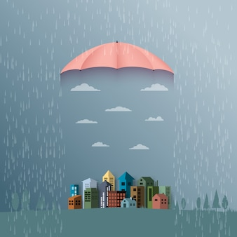 Monsoon background with umbrella protect the city from rain.