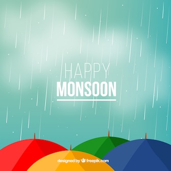 Monsoon background with umbrella