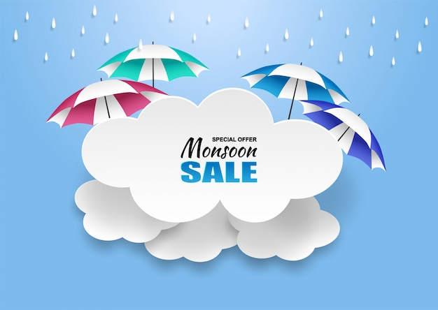 Monsoon, rainy season sale background. cloud rain and umbrella on blue sky.