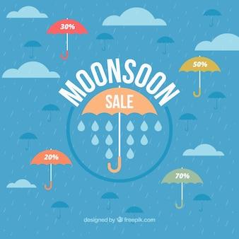 Sfondo di vendita di monsone con ombrello in progettazione piatta