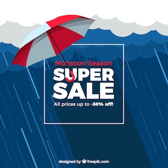 Monsoon sale composition with flat design