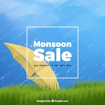 Monsoon sale composition with realistic design