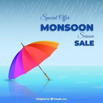 Monsoon sale composition with realistic umbrella