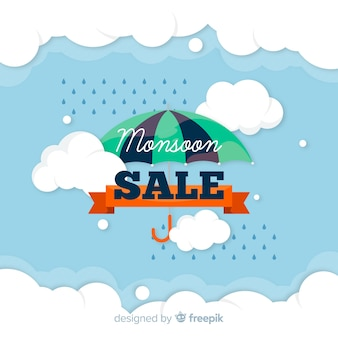 Monsoon sales background with rain and umbrella