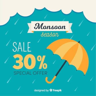 Monsoon sales background with umbrellas