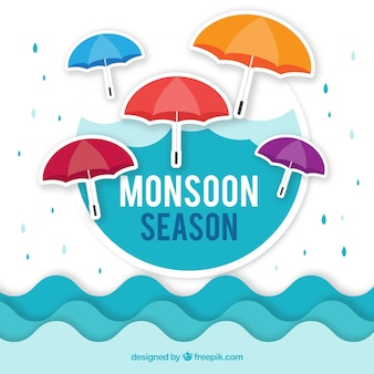 Monsoon season background in flat style