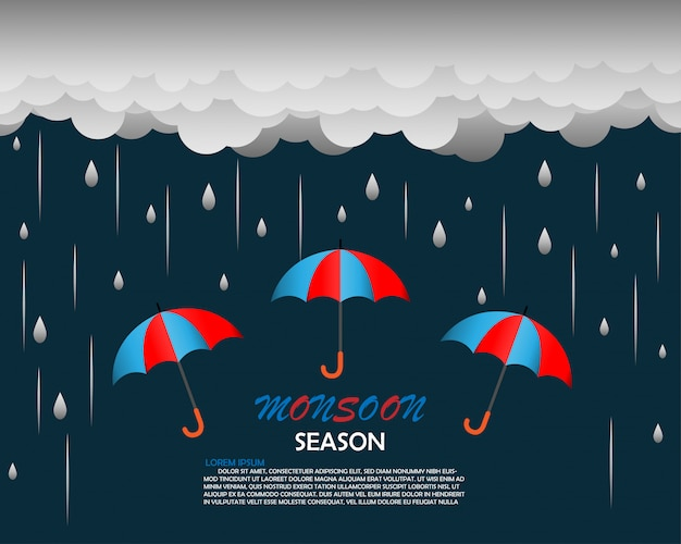 Monsoon season background template