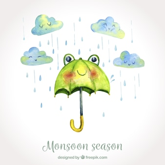 Monsoon season background in watercolor style