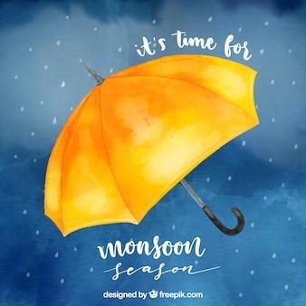 Monsoon season background in watercolor style
