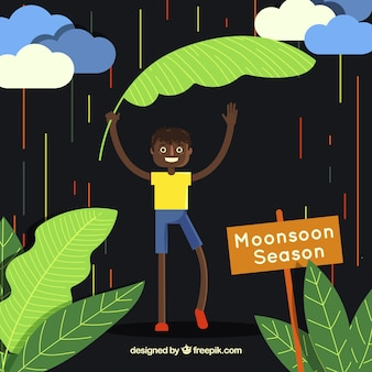 Monsoon season background with boy