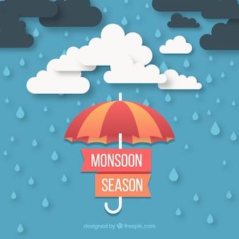 구름과 우산 몬순 시즌 배경