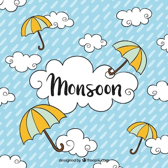 Monsoon season background with clouds and umbrellas