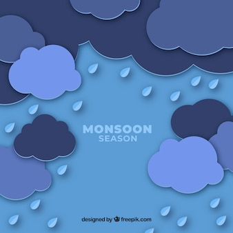 Monsoon season background with clouds