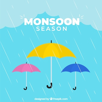 Monsoon season background with colorful umbrellas