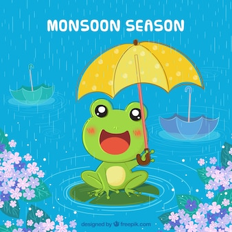 Monsoon season background with frog