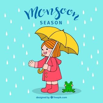 Monsoon season background with girl and umbrella