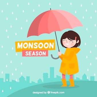 Monsoon season background with girl