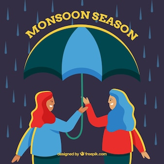 Monsoon season background with girls