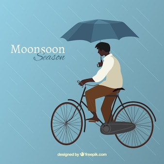 Monsoon season background with man in bicycle