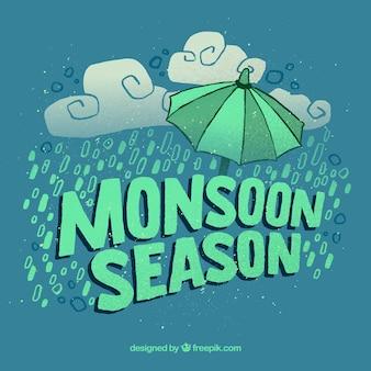 Monsoon season background with rain and umbrella