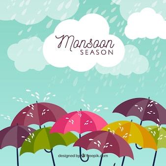Monsoon season background with rain and umbrellas