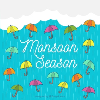 Monsoon season background with rain and umbrellas