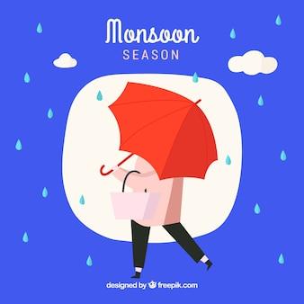 빨간 우산으로 몬순 시즌 배경