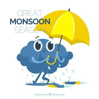 Monsoon season background with umbrella