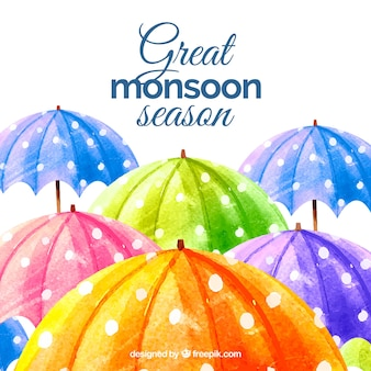 Monsoon season background with umbrellas