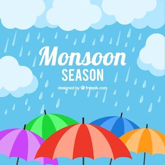 몬순 계절 우산 배경