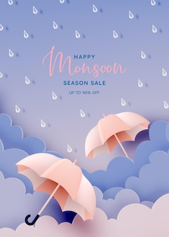 Monsoon season banner sale with pastel color scheme and paper art style vector illustration