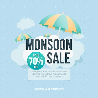 Monsoon season composition with flat design