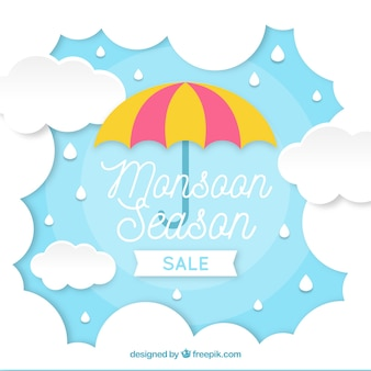 Monsoon season composition with origami style