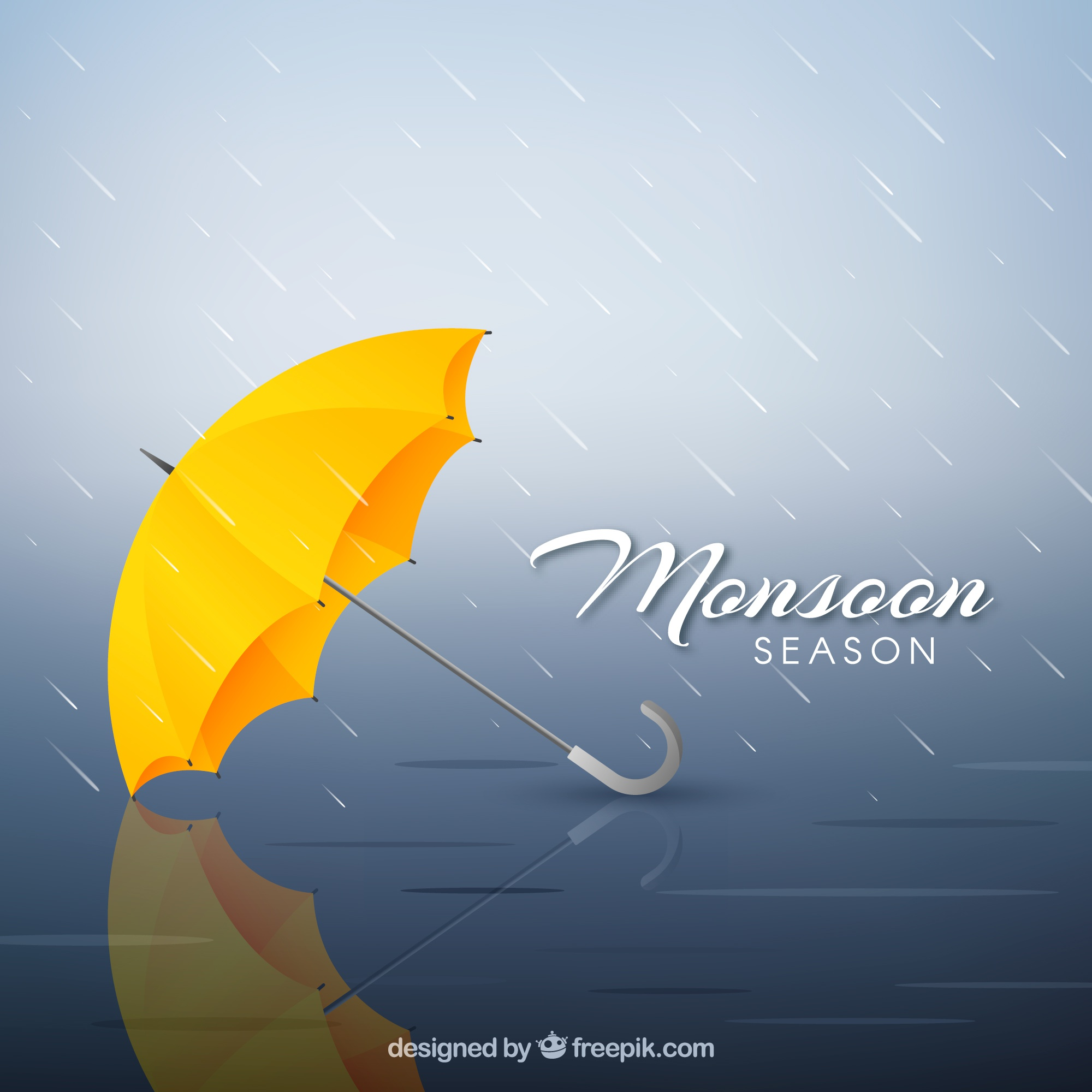 Monsoon season composition with realistic design