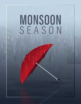 Monsoon season illustration with red umbrella on rain in the city at night background