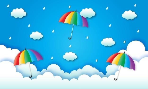 雨季。雨の中の虹。ペーパーアート。