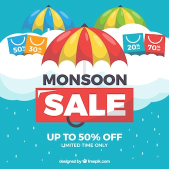 Monsoon season sale background in flat style