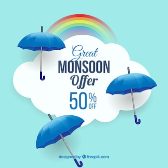Monsoon season sale background with blue umbrellas