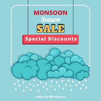 Monsoon season sale background with clouds