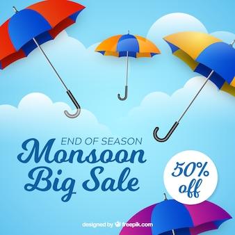 화려한 우산 몬순 시즌 판매 배경